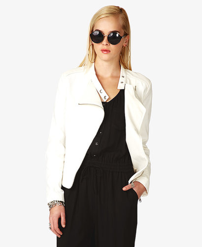 FOREVER 21 Woven & Faux Leather Moto Jacket