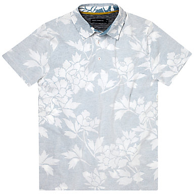 French Connection Paddle Floral Print Short Sleeve Polo Shirt