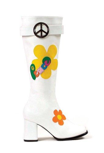 """Ellie Shoes E-300-Flowerchild, 3"""" Knee High Boots with Zipper-Satin-Boutique.com"""