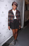 During Fall 2010 NYFW, Solange doubled up on print in a Southwest-inspired biker jacket, matching newsboy cap, and a grommet-detail skater skirt.