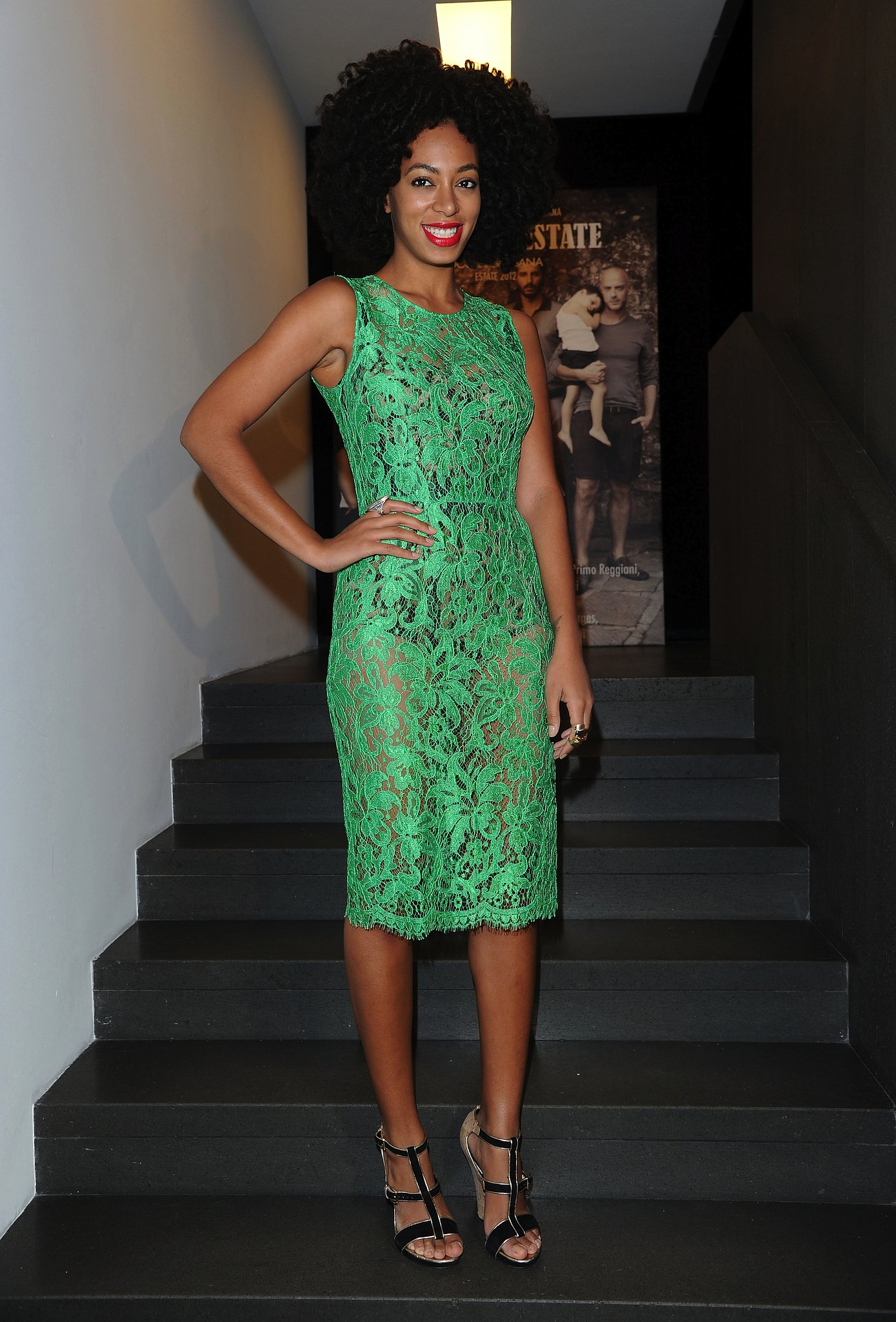 Knowles had us green with envy donning a brilliant lace sheath over a printed bodysuit with gold-trim wedges for a Dolce & Gabbana launch party in 2012.