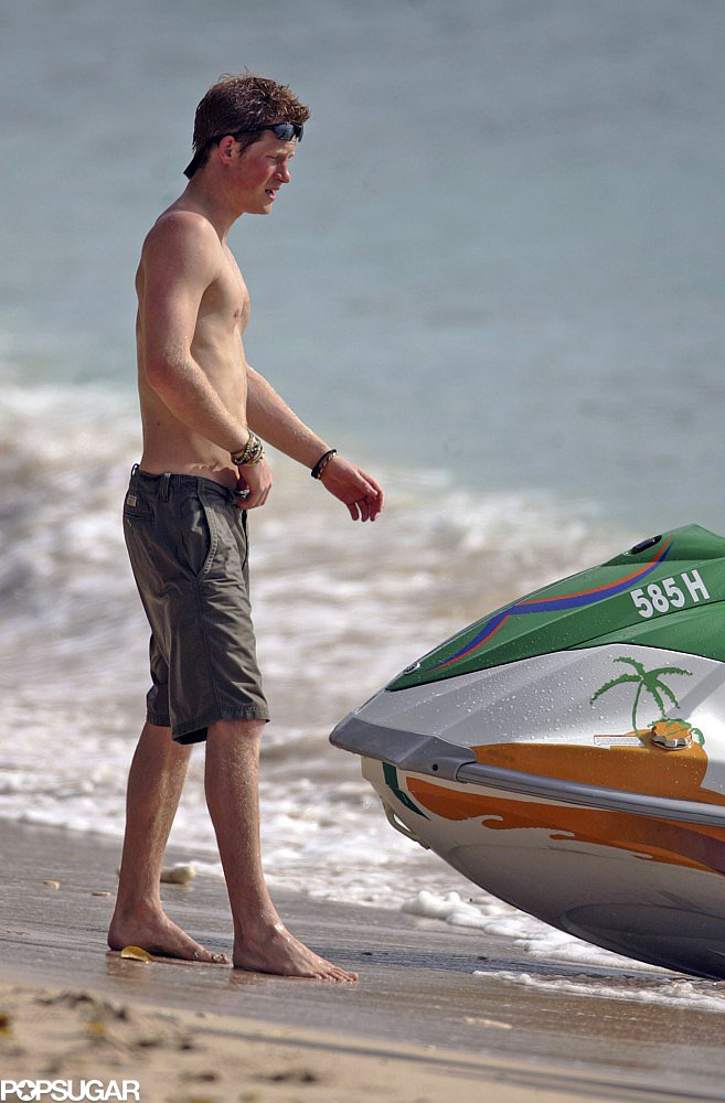 Prince Harry went shirtless while walking along the beach in Barbados back in April 2007.