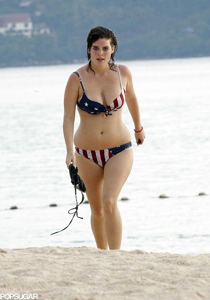 Princess Eugenie showed love for America when she donned a stars-and-stripes bikini during a vacation in Thailand in April 2009.
