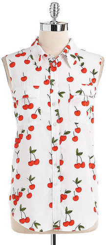 TWO BY VINCE CAMUTO Sleeveless Printed Utility Shirt