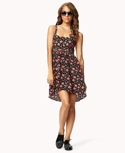 FOREVER 21 Lattice Cutout Floral Dress