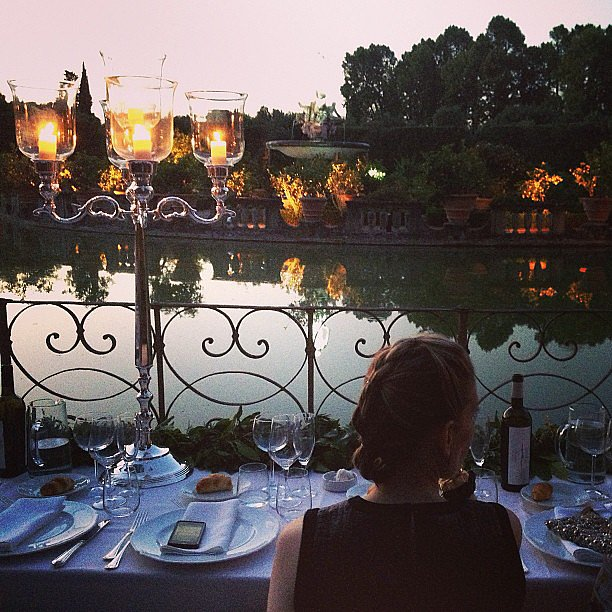 The last night's dinner was held around a fountain in the Boboli Gardens — a truly spectacular setting.