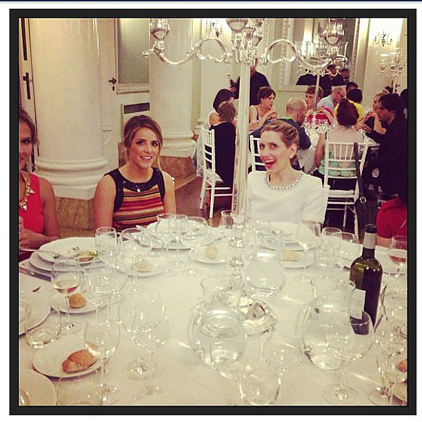 Julia Engel of Girl Meets Glam cracked up fashion and beauty director Melissa during dinner at the Pitti Palace Costume Gallery.