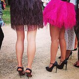 Partygoers coordinated in feathers and stilettos for the Grunge Glam concert.