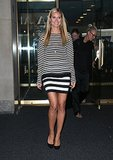 Heidi Klum got caught up in black-and-white stripes in NYC.