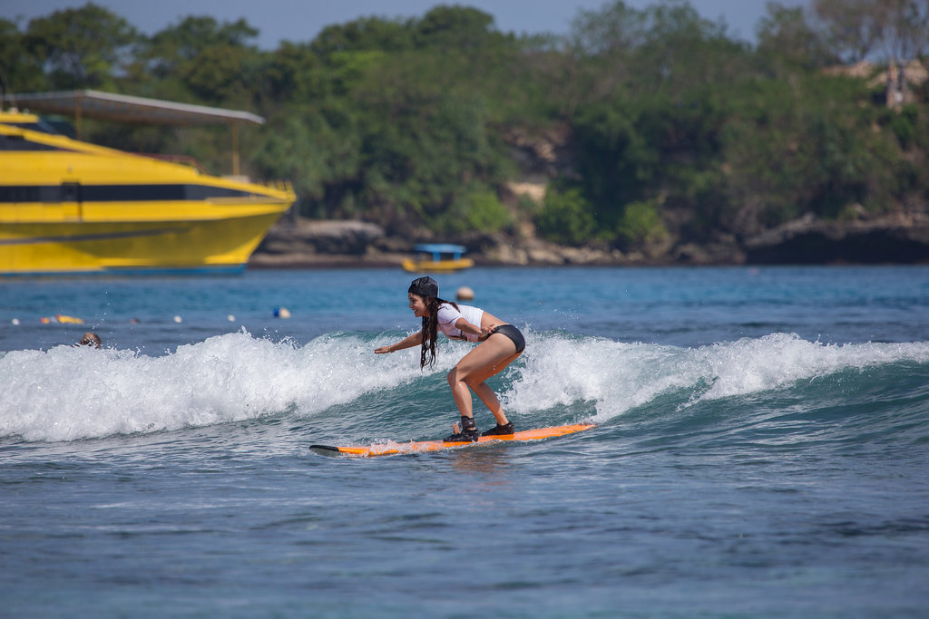 Vanessa Hudgens got up on her board during a surf session in Bali in June.
