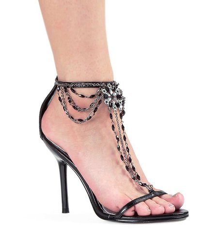 "Ellie Shoes E-457-Harp, 4.5"" Heel Rhinestone Sandal-Satin-Boutique.com"