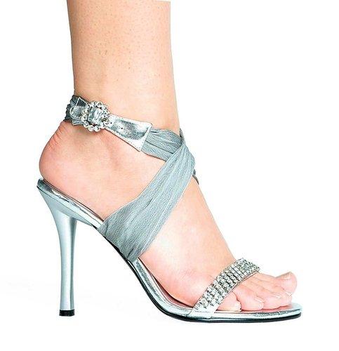 "Ellie Shoes E-457-Paula, 4.5"" Heel Rhinestone Sandal-Satin-Boutique.com"