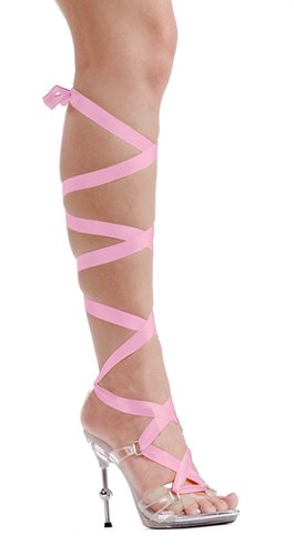 "Ellie Shoes E-458-Ballerina, 4.5"" Metallic Heel With 7 Ribbons-Satin-Boutique.com"