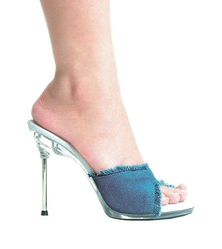 "Ellie Shoes E-458-Bonita, 4.5"" Metallic Heel Denim Mule-Satin-Boutique.com"