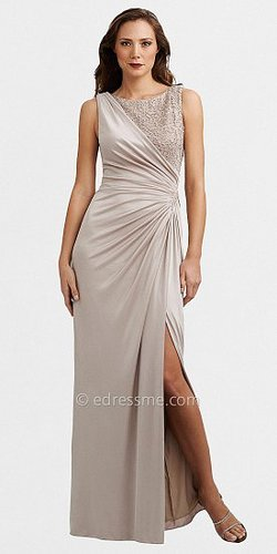 Sultry Champagne Slit Evening Dresses by Adrianna Papell