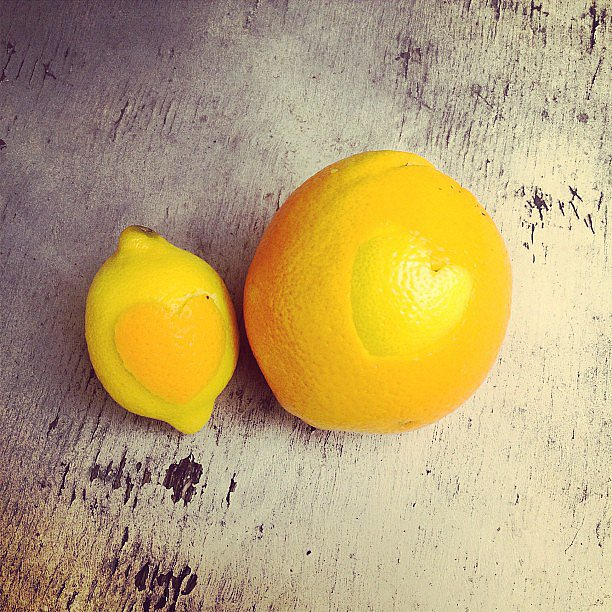 It's easy to show off some lemon love by carving peels into heart shapes.  Source: Instagram user anaismoods