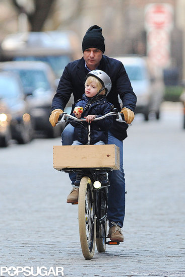 Liev Schreiber went on an NYC bike journey with his son Kai in December 2012.