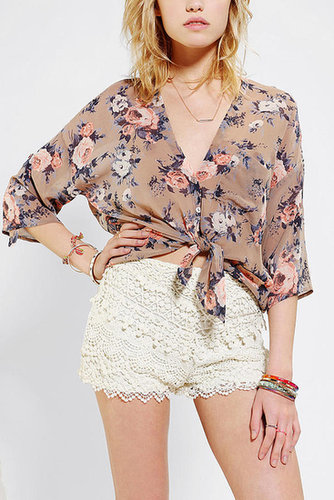 Pins And Needles Tie-Front Bed Jacket Blouse