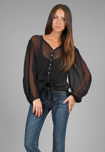 Love Sam Tie Front Top with Lace in Black