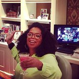 Oprah chilled with a watermelon margarita at her desk. Source: Instagram user oprah