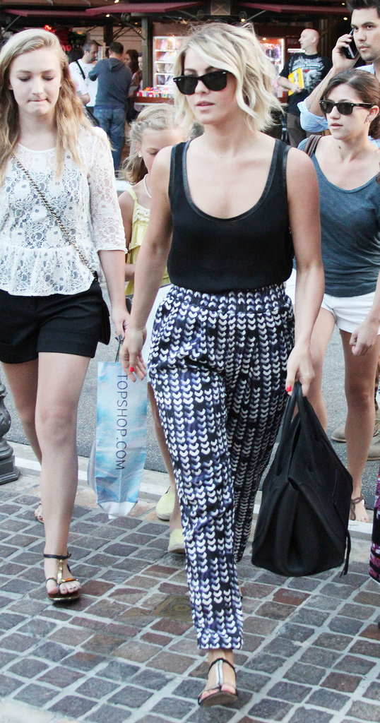 Julianne Hough indulged in some retail therapy in printed pants and Vince Camuto t-strap sandals in LA.