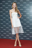 Model Heather Marks was a vision in a white strapless dress with a netted skirt at an event in Seoul.