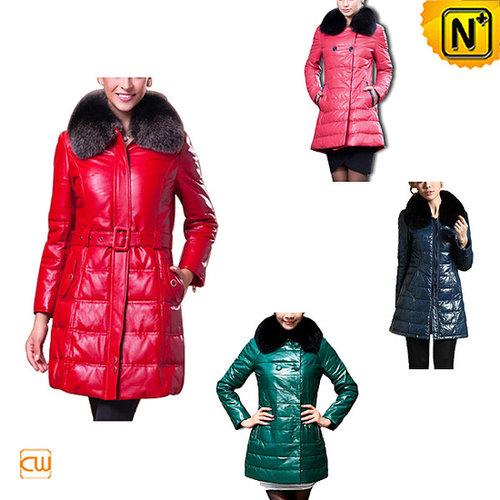 Women Leather Down Coat CW148260 - cwmalls.com