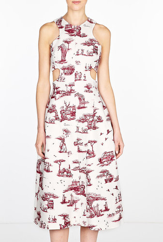 Carven Safari Printed Cut Away Dress