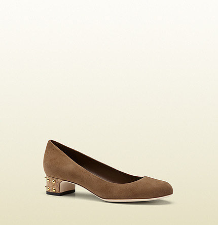 Jacquelyne Maple Brown Suede Studded Cork Low-Heel Pump