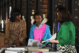 Next, Michelle Obama donned a statement Lela Rose vest while visiting the Long Hall Library in Trinity, Ireland.