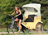 Jennifer Aniston rode a pedicab in June 2009 while filming The Bounty Hunter in Atlantic City, NJ.