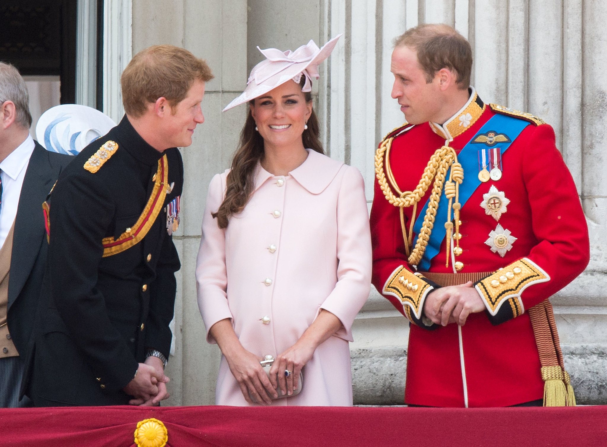 In June 2013, Kate and William shared a joke with Prince Harry while standing on the balcony at Buckingham Palace for the Trooping the Colour parade.