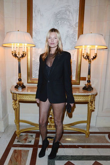 Kate Moss was one of the first to wear Saint Laurent's embellished bodysuit to the CR Fashion Book issue two launch in Paris.
