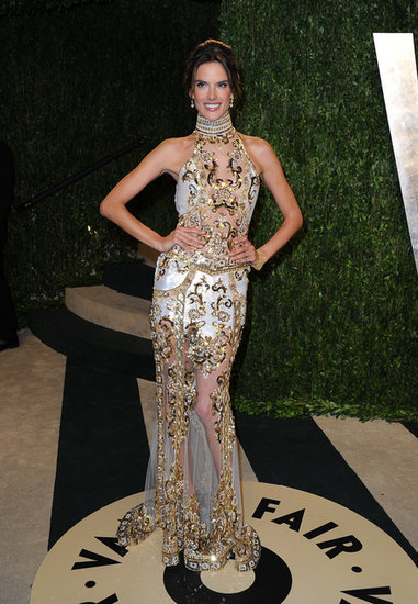 Alessandra Ambrosio stunned in a sheer embellished high-neck gown at the 2013 Vanity Fair Oscar party.