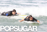 One Direction's Liam Payne and Louis Tomlinson hit the Sydney surf together in April 2012.