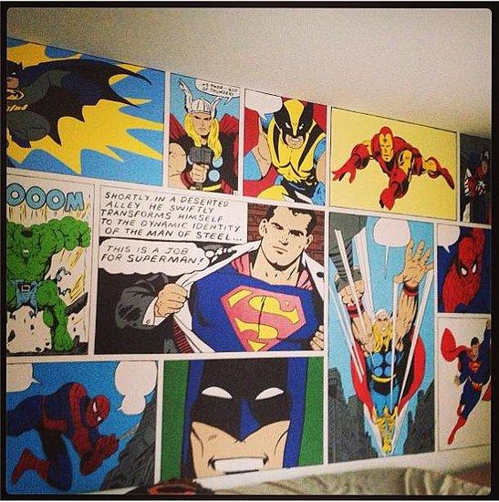 Superhero bedroom mural popsugar tech for Comic book mural