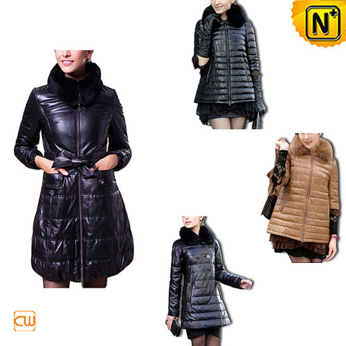 Quilted Down Coat Leather CW148360 - cwmalls.com
