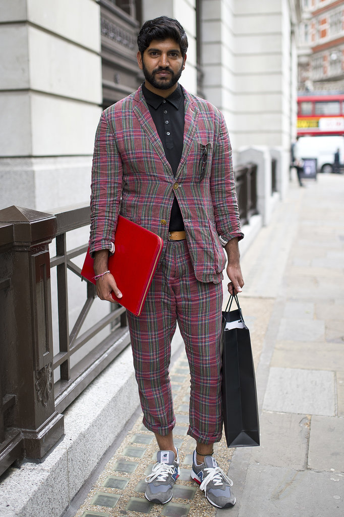 This one's worth borrowing from the boys — we love the effect of a cute plaid suit and sporty kicks.