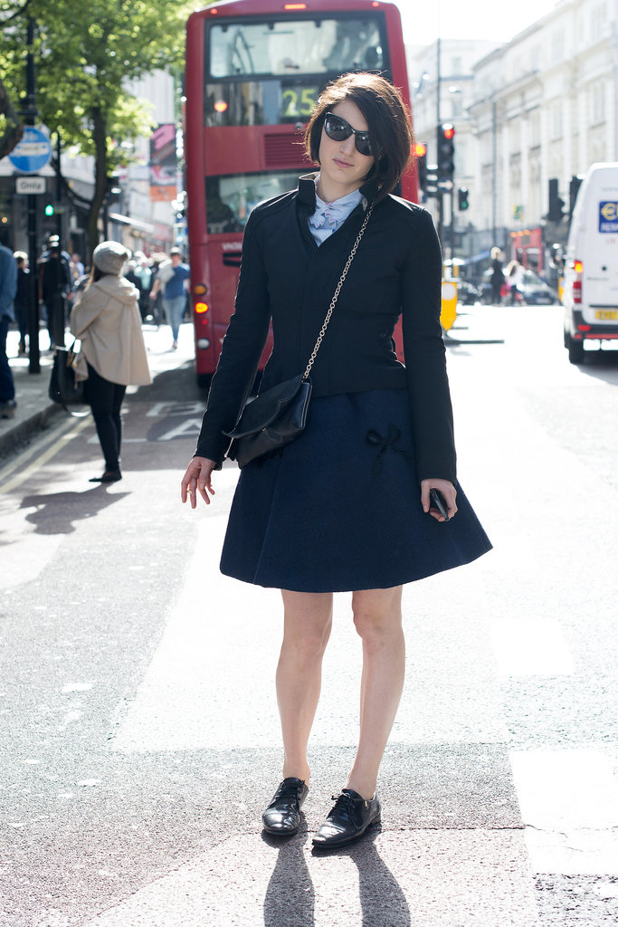 A very London-darling look, thanks to a sweet jacket and skirt and adorable oxfords.