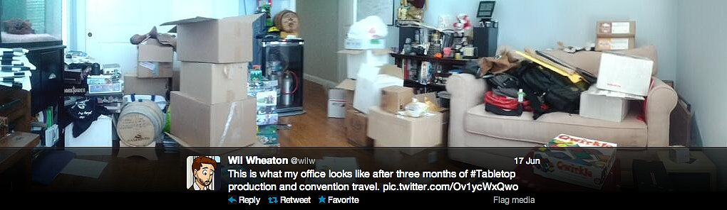 Actor Wil Wheaton is on the convention and celebrity board gaming circuit. Lots of travel does not a clean office make.