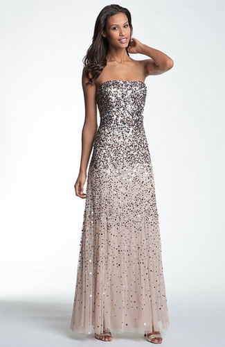 Sequined Strapless Mesh Gown