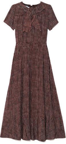 Preorder Marc Jacobs Sketch Check Crepe De Chine Bow Neck Dress