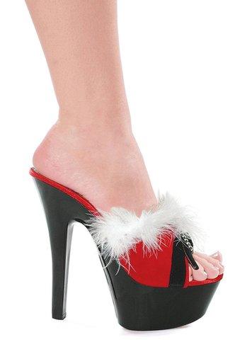 """Ellie Shoes E-601-Plush, 6"""" Sandal with Buckle and Maribou-Satin-Boutique.com"""