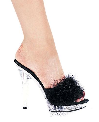 "Ellie Shoes E-Sasha, 5"" Heel Maribou Slipper-Satin-Boutique.com"