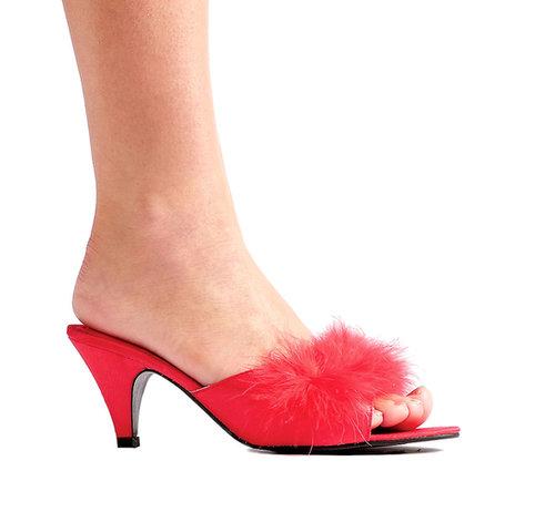 "Ellie Shoes E-Phoebe, 2.5"" Heel Satin Maribou Slippers-Satin-Boutique.com"