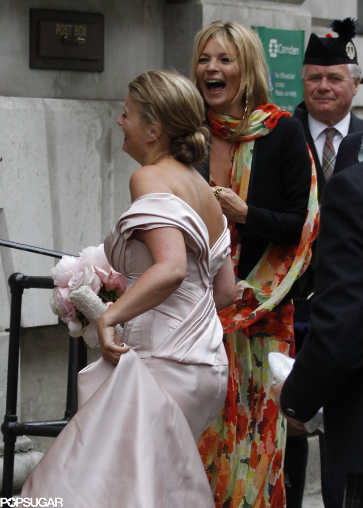 Kate Moss attended the wedding of her personal assistant, Fiona Young, in London with husband Jamie Hince by her side.