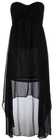 Black ruched bandeau dip dress
