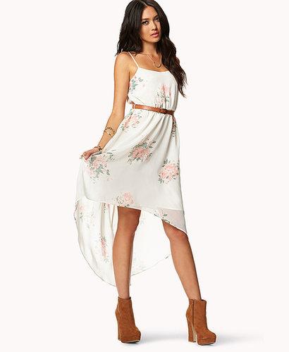 FOREVER 21 Romantic High-Low Floral Dress w/ Belt