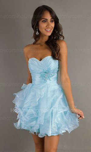 larger image Light Blue Short Strapless Prom Dress Cheap with Ruffled Layers