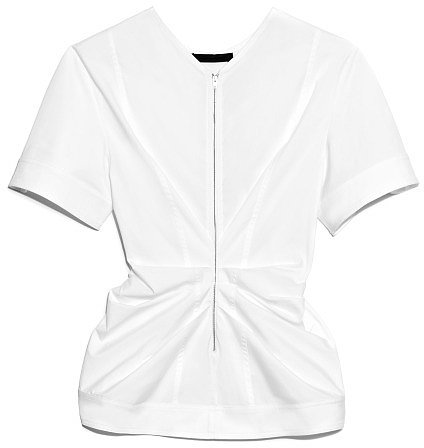 Preorder Alexander Wang Stretch Cotton Poplin Vacuum Pressed Top With Pinched Front